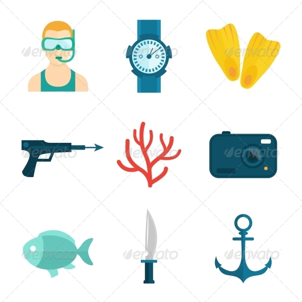 GraphicRiver Diving Icons Flat 8254363