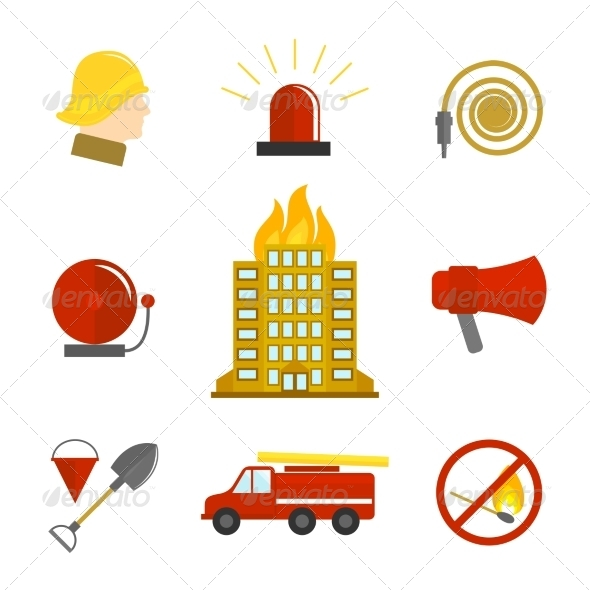 GraphicRiver Flat Firefighting Icons 8254366