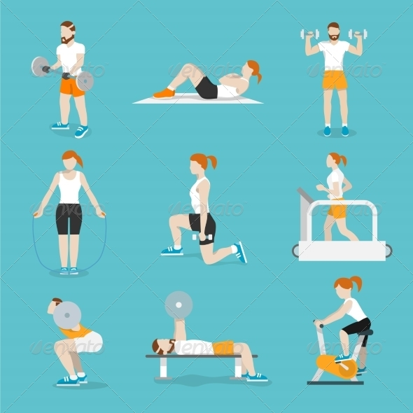 GraphicRiver People Gym Exercises Icons Set 8254372
