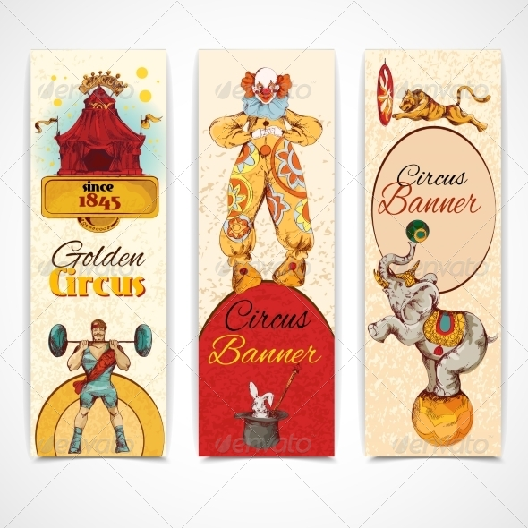 GraphicRiver Circus Vintage Banners Set 8254382