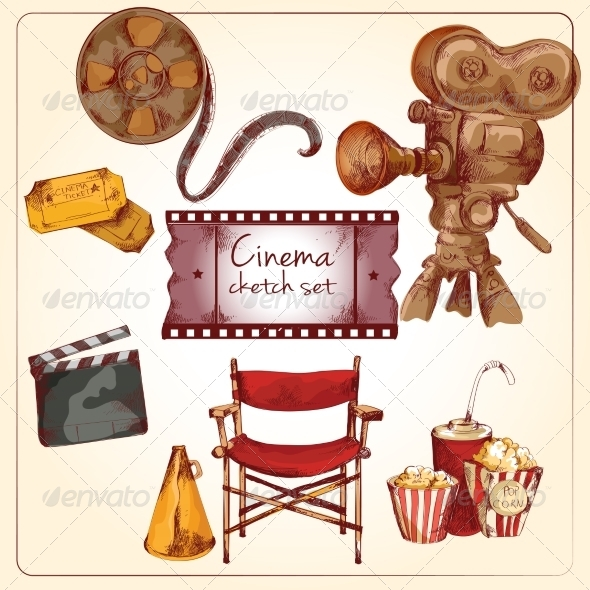GraphicRiver Cinema Colored Sketch Set 8254390