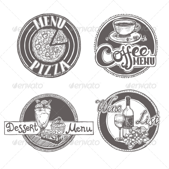GraphicRiver Restaurant Sketch Menu Labels Set 8254408