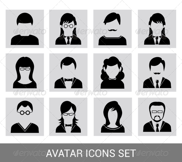 GraphicRiver Black Avatar Icon Set 8254418