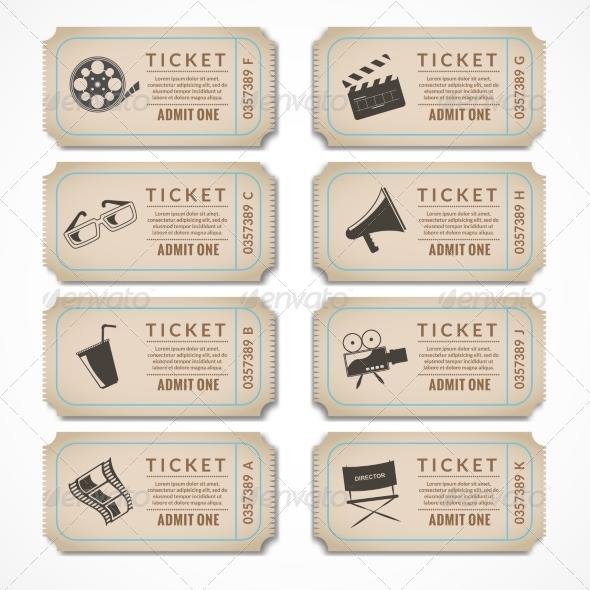 GraphicRiver Retro Cinema Tickets 8254424