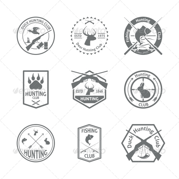GraphicRiver Set of Hunting Label 8254437