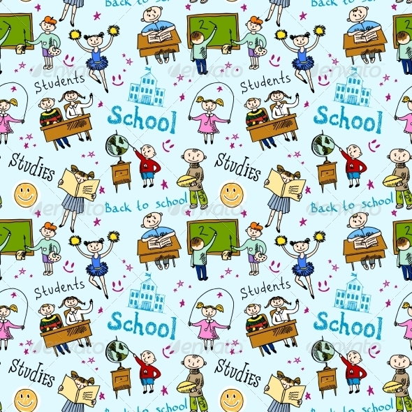 GraphicRiver Seamless Pattern with Kids 8254450