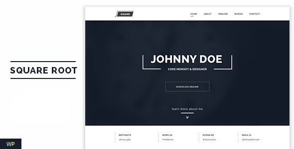 Squareroot - One Page Personal CV Resume Theme - Miscellaneous WordPress