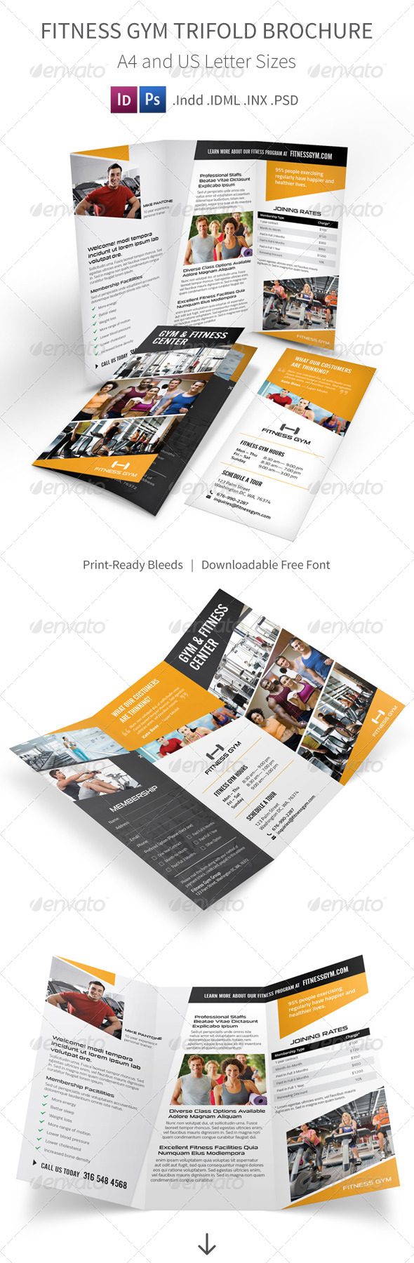 health coach brochure templates - fitness gym trifold brochure informational download