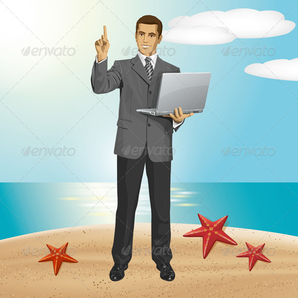 GraphicRiver Vector Business Man Shows Something With Finger 8255811
