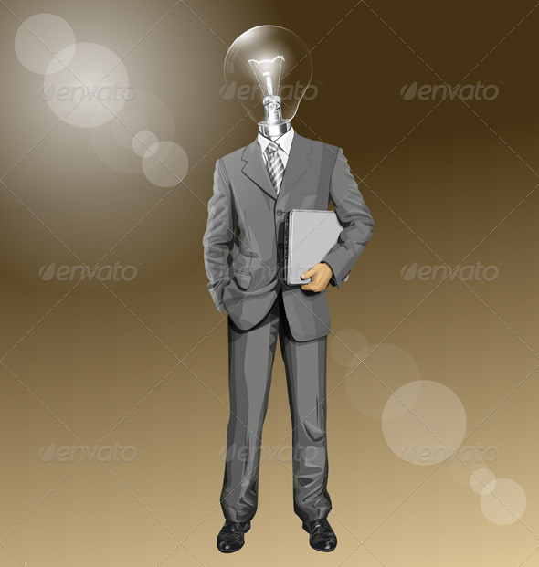 GraphicRiver Vector Lamp Head Businessman With Laptop 8255815
