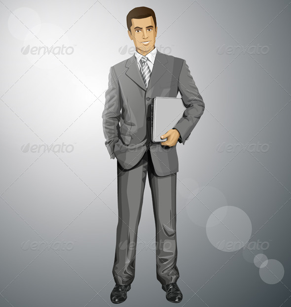 GraphicRiver Vector Businessman With Laptop 8255822
