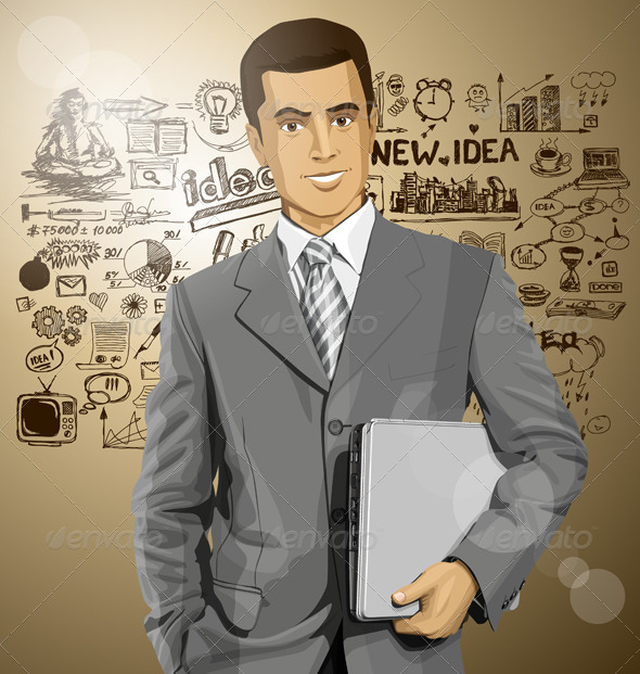 GraphicRiver Businessman with Laptop 8255850