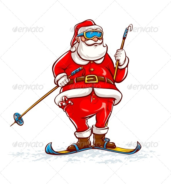 GraphicRiver Santa Claus on Skis 8256546