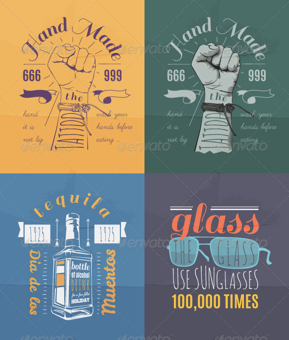 GraphicRiver Trendy Retro Vintage Insignias Set 8257298