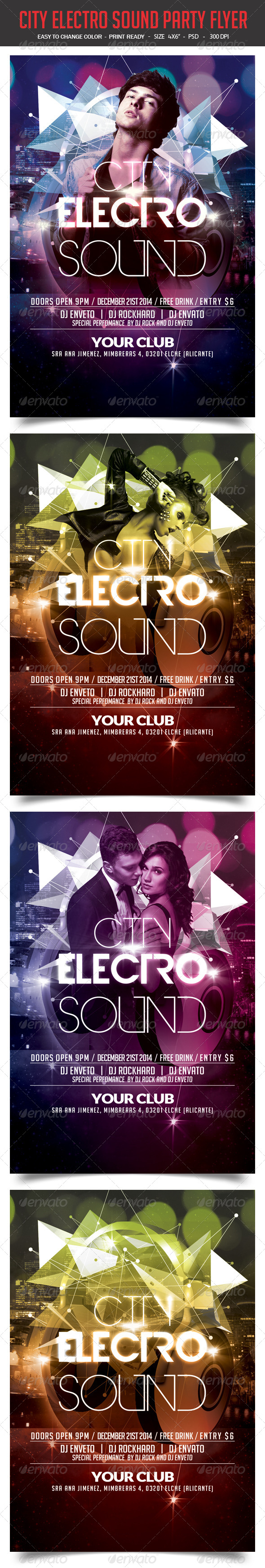 GraphicRiver City Electro Sound Party Flyer 8257740