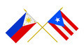 Flags of Philippines and Puerto Rico, 3d Render, Isolated on White - PhotoDune Item for Sale