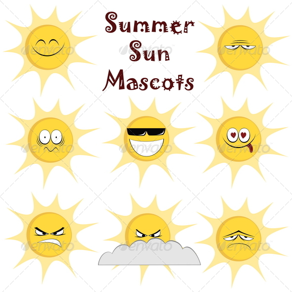 GraphicRiver Summer Sun Mascots 8258639