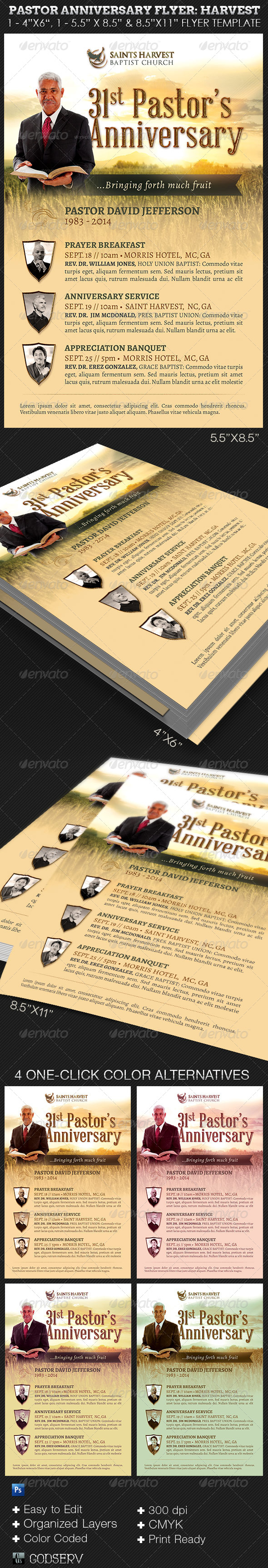 GraphicRiver Pastor Anniversary Church Flyer Template Harvest 8258855