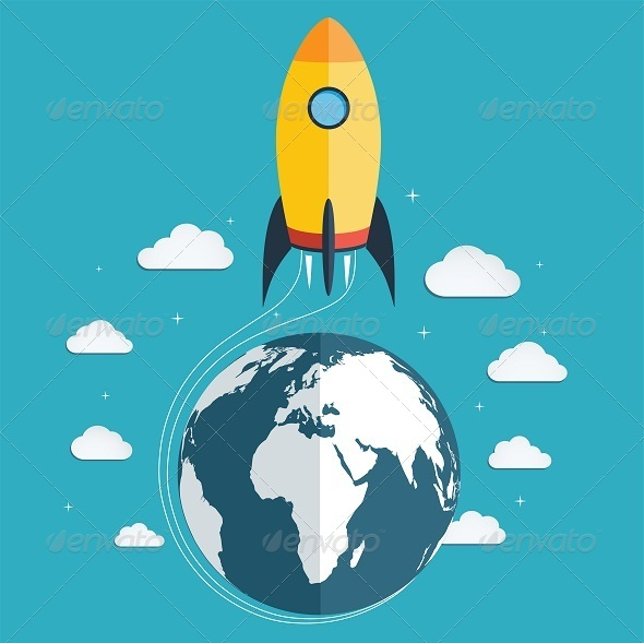 GraphicRiver Start Up Space Rocket into Space 8258891