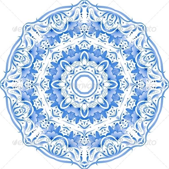 GraphicRiver Blue Floral Ornament Circle 8259033