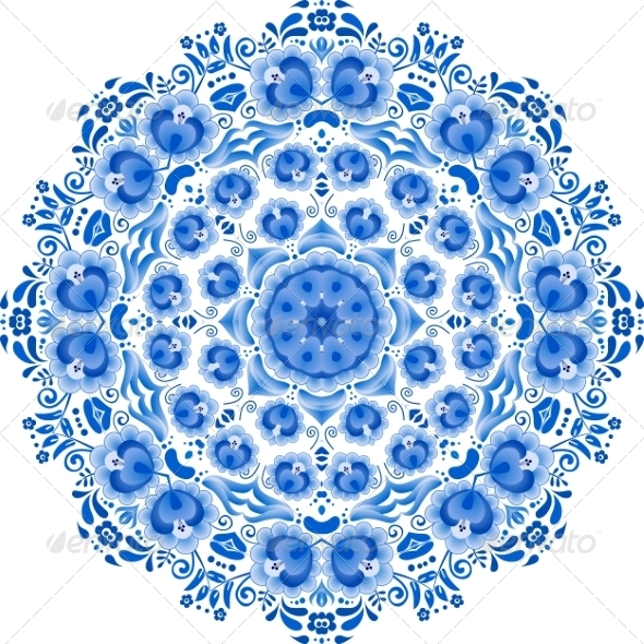 GraphicRiver Blue Floral Ornament Circle 8259036