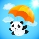 Panda Flying with Orange Parachute - GraphicRiver Item for Sale