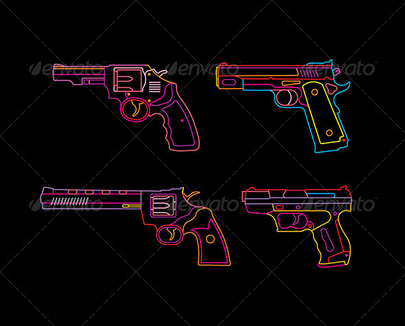 GraphicRiver Neon Handgun Sign 8259055