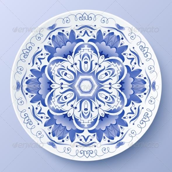 GraphicRiver Blue Floral Ornament Decorative Plate 8259174