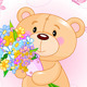 Pink Teddy Bear with Flowers - GraphicRiver Item for Sale