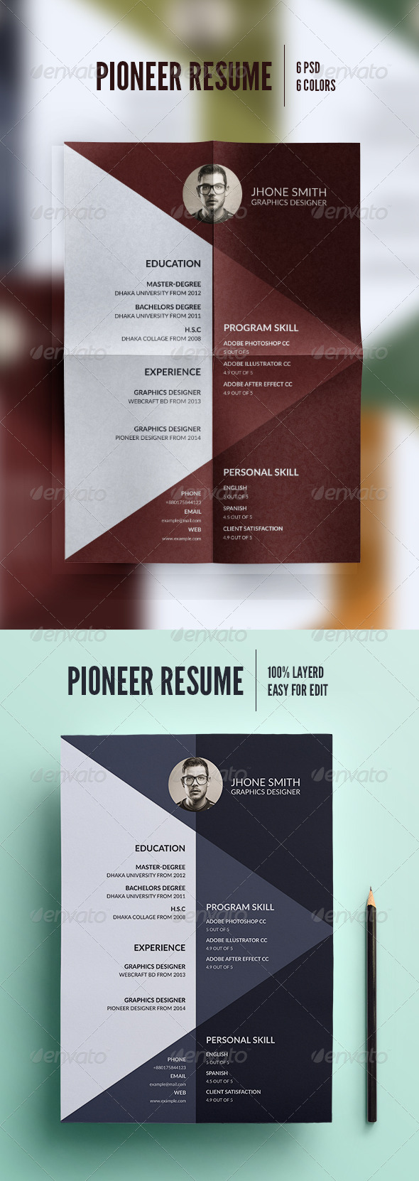 GraphicRiver Pioneer Resume 8259358