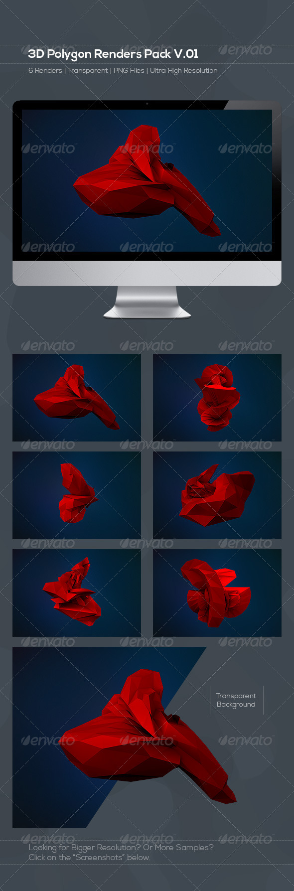 3D Polygon Renders Pack V.01 - Abstract 3D Renders