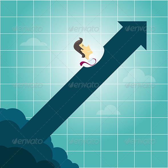 GraphicRiver Businessman Riding an Arrow 8259595