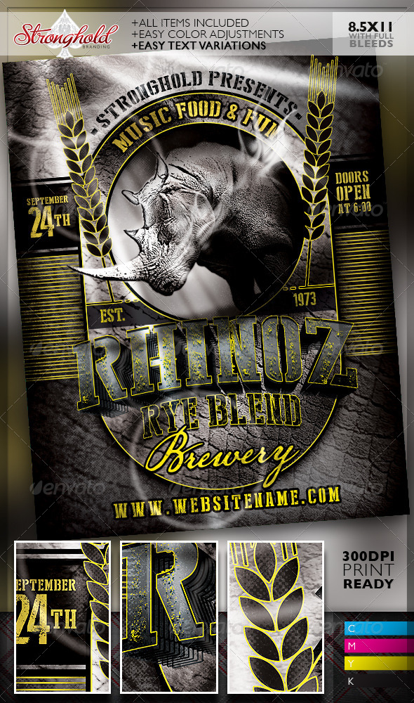 GraphicRiver Rhino Rye Brewery Flyer Template 8259711