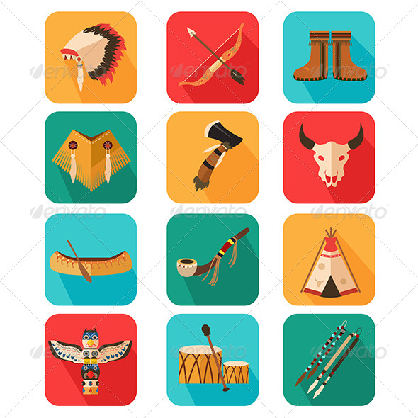 GraphicRiver Native Americans Icons 8259743