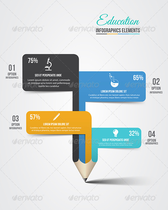 GraphicRiver Education Pencil Infographics Step Option 8259861