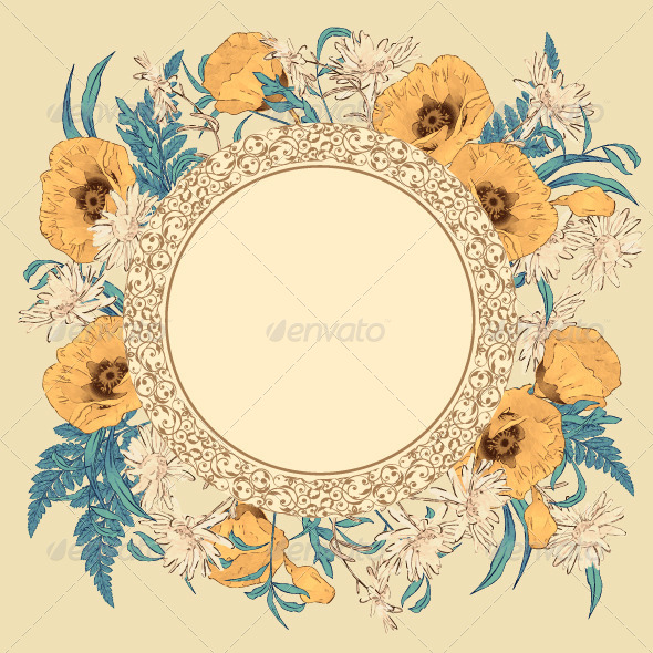 GraphicRiver Vintage Vector Flower Frame 8259958