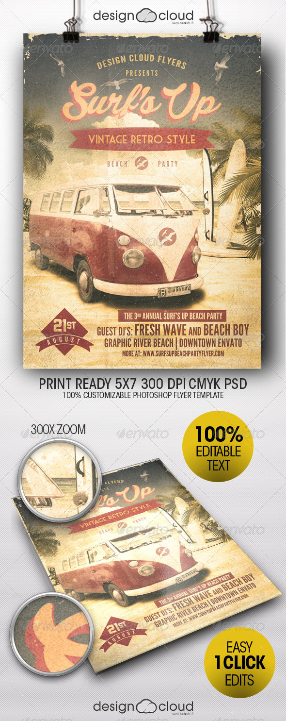 GraphicRiver Surf s Up Retro Beach Party Flyer Template 8254400
