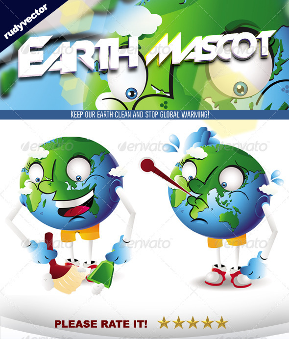 Earth Global Warming Cleaning Mascot