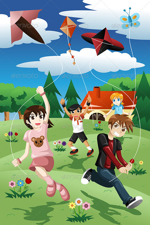 GraphicRiver Kids Flying Kite 8260034