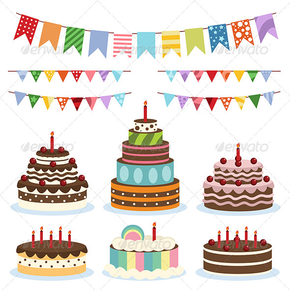 GraphicRiver Colorful Birthday Banners and Cakes 8260043