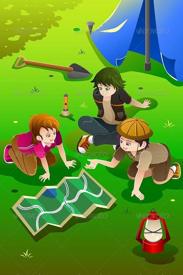 GraphicRiver Kids Having Summer Camp 8260052