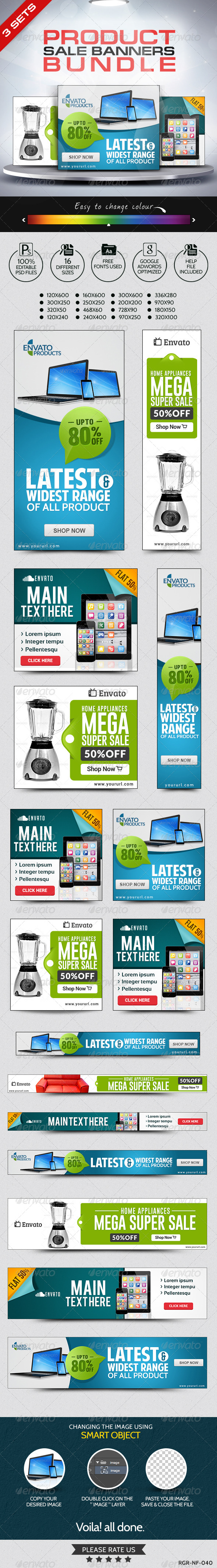 GraphicRiver Product Sale Banner Sets Bundle 3 Sets 8260053