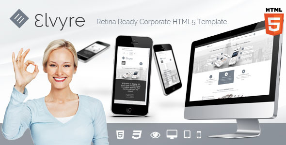 Elvyre Retina Ready HTML5 Template - Corporate Site Templates