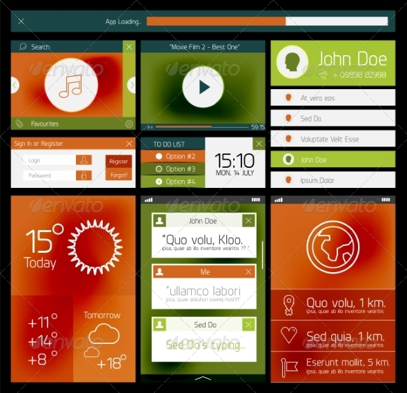GraphicRiver Ui Flat Web and Mobile Element 8264191