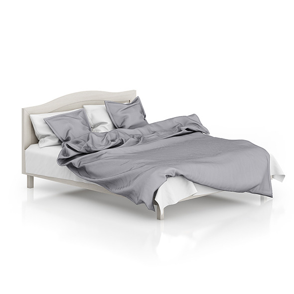 3DOcean Wooden Bed with Grey Bedclothes 8266454