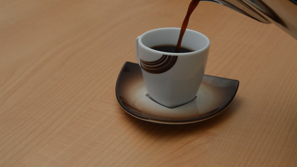 Coffee Poured into Small Cup