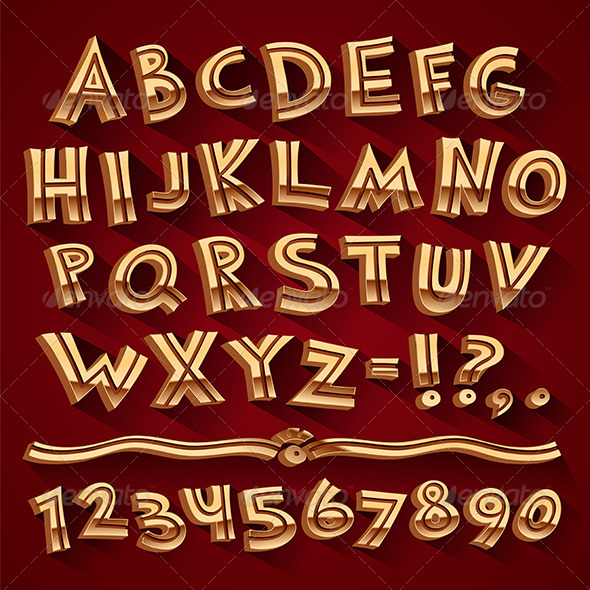 Golden Retro 3D Font with Strips on Red Background