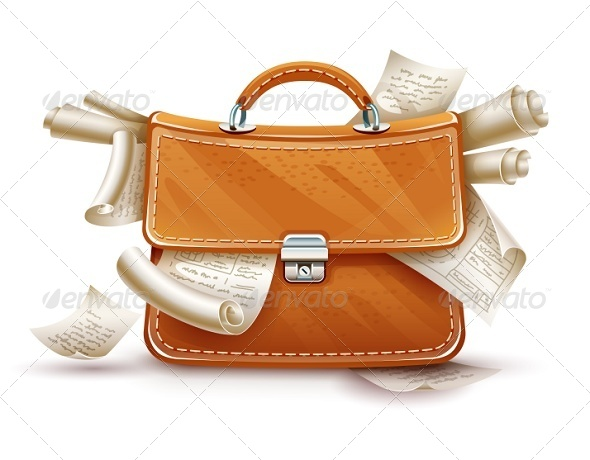 GraphicRiver Leather Briefcase Full of Papers and Documents 8266932