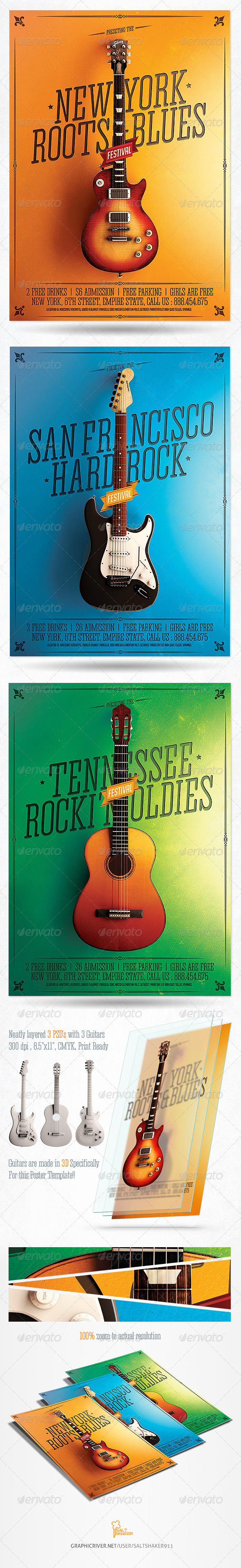 GraphicRiver Minimal Rock Festival Poster With 3 Guitars 8269230
