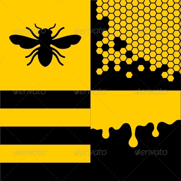 GraphicRiver Bee Honeycells and Honey Patterns Set 8271824